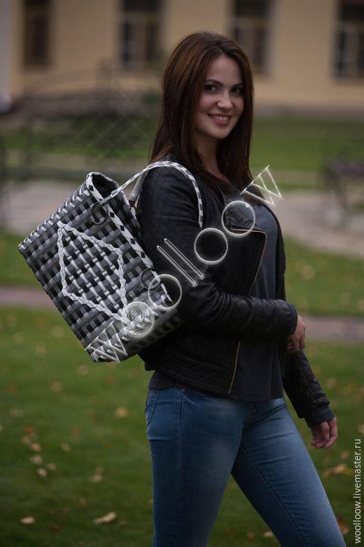 Женские сумки ручной работы. Ярмарка Мастеров - ручная работа. Купить Сумка плетеная. Handmade. В клеточку, сумка женская
