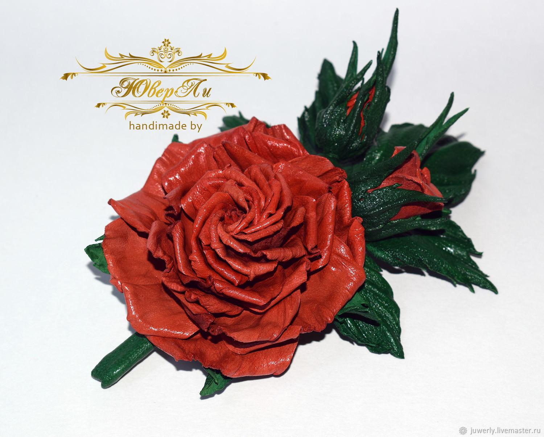 Brooch of the skin `Orange rose` by