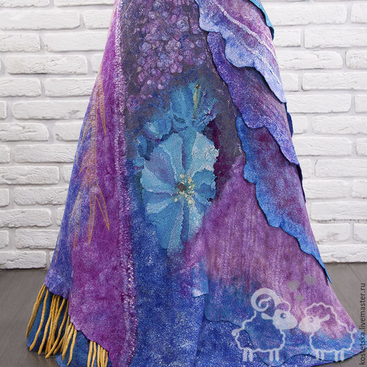 """Юбки ручной работы. Ярмарка Мастеров - ручная работа. Купить Юбка валяная """"Лора"""" синий голубой фиолетовый шелк шерсть. Handmade."""