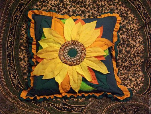 """Текстиль, ковры ручной работы. Ярмарка Мастеров - ручная работа. Купить подушки """"Подсолнух"""". Handmade. Комбинированный, цветы"""