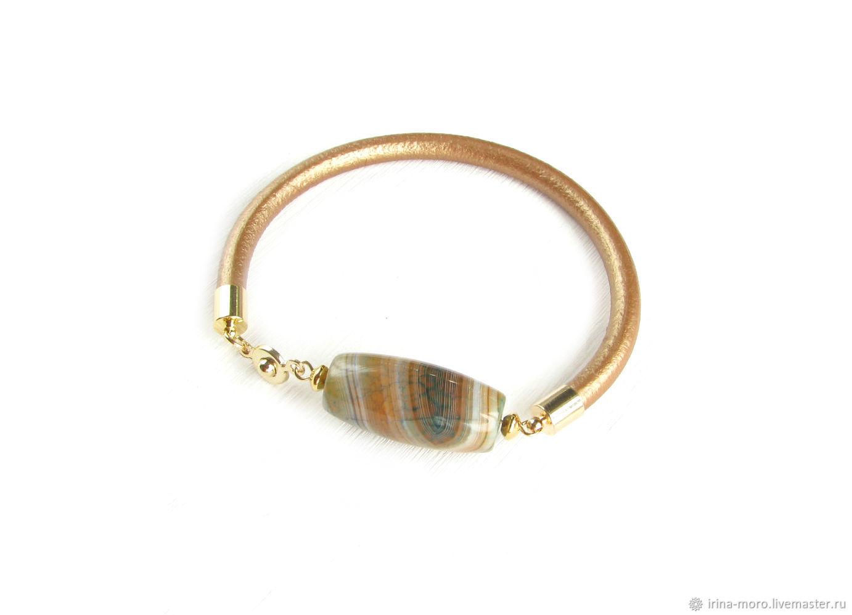 Leather bracelet 'Gold summer' beige bracelet with agate, Bead bracelet, Moscow,  Фото №1