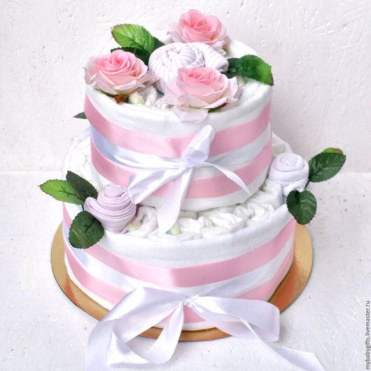 Подарки для новорожденных, ручной работы. Ярмарка Мастеров - ручная работа. Купить Торт из подгузников и одежды 2 яруса (розовый). Handmade.