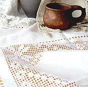 Для дома и интерьера handmade. Livemaster - original item Tablecloth square 4 star, linen, embroidery, hemstitch. Handmade.