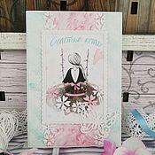 """Открытки ручной работы. Ярмарка Мастеров - ручная работа Открытка на день рождения """"Мятно-розовое настроение"""". Handmade."""