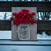"""Картины и панно ручной работы. Ярмарка Мастеров - ручная работа """"Банка с цветами"""" в технике String Art. Handmade."""