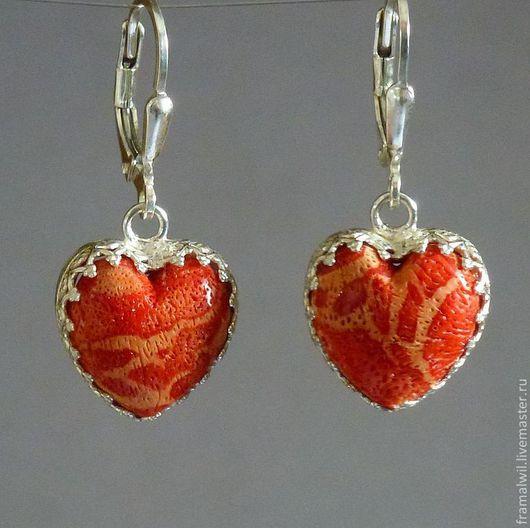 """Серьги ручной работы. Ярмарка Мастеров - ручная работа. Купить Серьги  """"Сердце"""" серебро 925 пробы. Красный коралл. Handmade."""