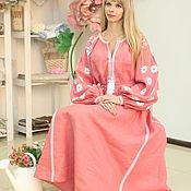 Одежда handmade. Livemaster - original item Dress embroidered dark pink with wedges. Handmade.