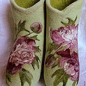 """Обувь ручной работы. Ярмарка Мастеров - ручная работа Валеночки """"Медленный вальс пионов"""". Handmade."""