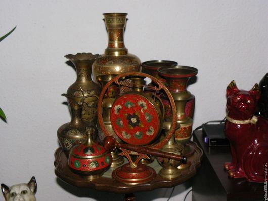 Винтажные предметы интерьера. Ярмарка Мастеров - ручная работа. Купить Коллекция винтажной индийской бронзы 13 ваз и гонг. Handmade.