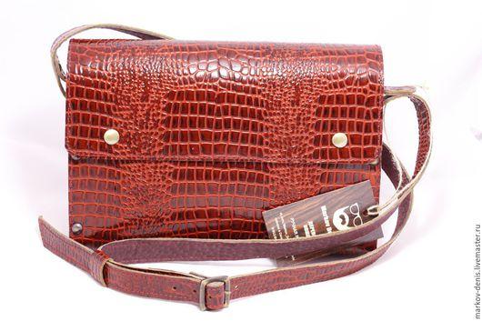 Женские сумки ручной работы. Ярмарка Мастеров - ручная работа. Купить Бордовый кроко. Handmade. Бордовый, натуральная кожа