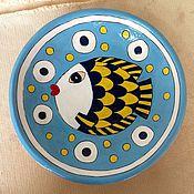 Посуда ручной работы. Ярмарка Мастеров - ручная работа Блюдо рыба на голубом. Handmade.