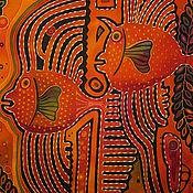 """Картины и панно ручной работы. Ярмарка Мастеров - ручная работа """"Рыбы-сплетницы"""" батик-картина. Handmade."""