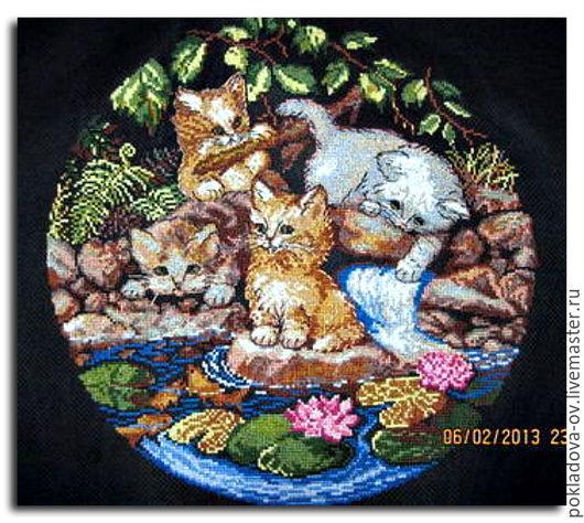 Животные ручной работы. Ярмарка Мастеров - ручная работа. Купить Вышитая картина Котята. Handmade. Черный, коты, вышивка