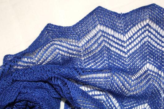 шарф вязаный льняной, палантин легкий, летний платок, синий шарф-палантин ажурный
