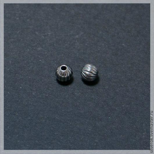 Для украшений ручной работы. Ярмарка Мастеров - ручная работа. Купить Бусина  ребристая №3 серебро 925 пробы с чернением. Handmade.