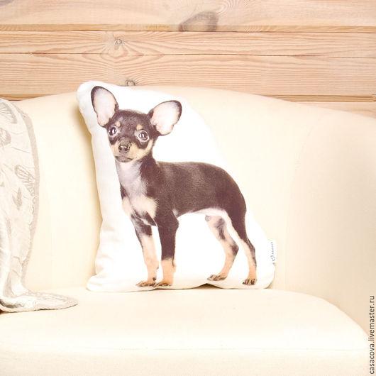 Текстиль, ковры ручной работы. Ярмарка Мастеров - ручная работа. Купить Подушка Чихуахуа - льняная подушка в виде собаки, тойтерьер. Handmade.