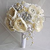 Свадебный салон handmade. Livemaster - original item White Wedding brooch bouquet. Ivory bouquet of brooches the bride. Handmade.
