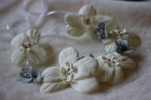 Диадемы, обручи ручной работы. Ярмарка Мастеров - ручная работа. Купить Веночек с белыми орхидеями. Handmade. Венок, венок для невесты