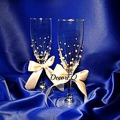 """Свадебный салон ручной работы. Ярмарка Мастеров - ручная работа Бокалы для шампанского """"Vanilla Weddind"""". Handmade."""