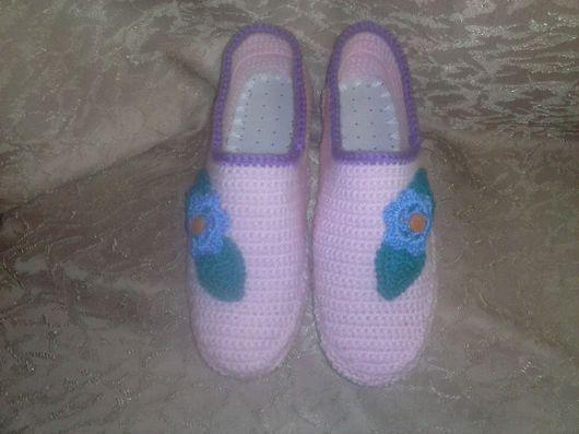 """Обувь ручной работы. Ярмарка Мастеров - ручная работа. Купить Тапочки на войлочной подошве"""" Весна"""". Handmade. Тапочки ручной работы"""