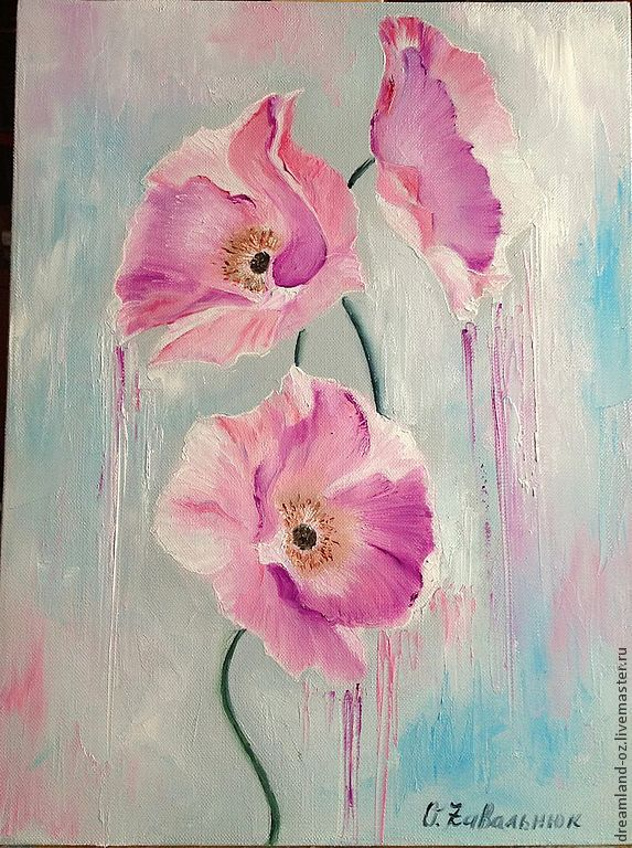 Flower Paintings handmade. Livemaster - handmade. Buy Oil painting 'Breath of spring'.Pink, spring, pale blue