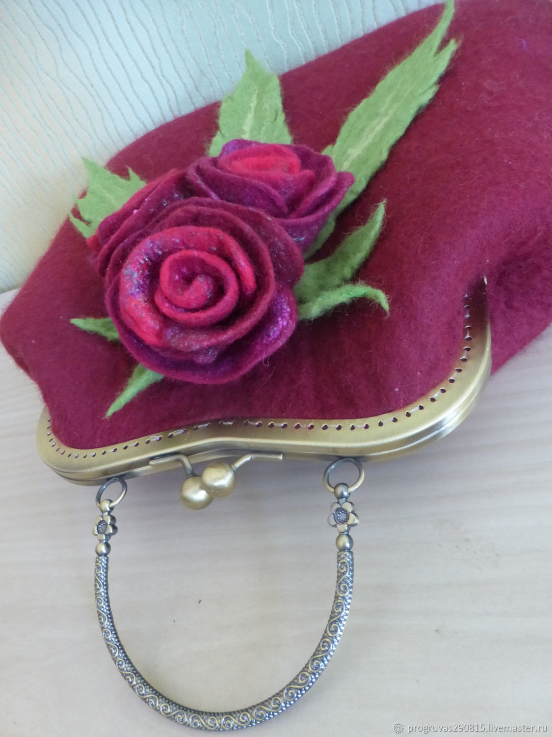 Classic bag: Felted burgundy bag with roses, Classic Bag, Votkinsk,  Фото №1