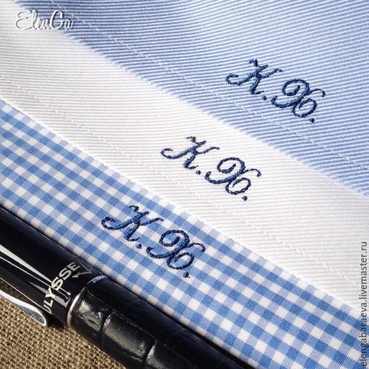 Монограмма на мужской рубашке 10 мм заказать. Личное фото