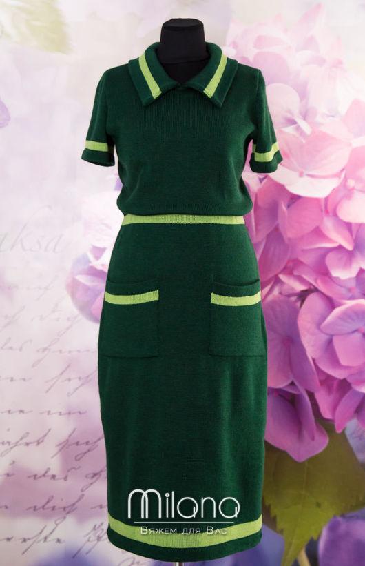 Платья ручной работы. Ярмарка Мастеров - ручная работа. Купить Вязаное платье в спортивном стиле. Handmade. Тёмно-зелёный