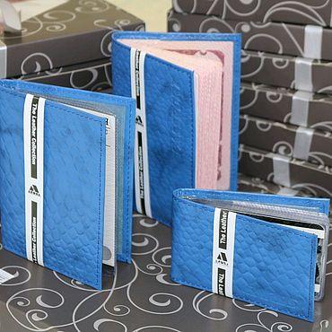 Аксессуары ручной работы. Ярмарка Мастеров - ручная работа Подарочный набор  Синий питон. Handmade.