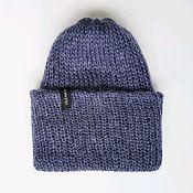 Аксессуары handmade. Livemaster - original item Knitted mohair hat with a collar jeans melange winter warm beanie. Handmade.