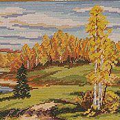 Картины и панно ручной работы. Ярмарка Мастеров - ручная работа Осень золотая.  Вышитый вручную гобелен. 75 Х 52 см.. Handmade.