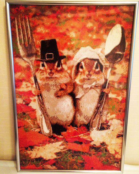"""Животные ручной работы. Ярмарка Мастеров - ручная работа. Купить Алмазная вышивка """"Поворята барсуки"""". Handmade. Картина в подарок"""