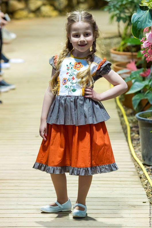 Одежда для девочек, ручной работы. Ярмарка Мастеров - ручная работа. Купить Платье летнее с вышивкой для девочки. Handmade. Рыжий