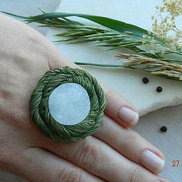 """Украшения ручной работы. Ярмарка Мастеров - ручная работа """"Лесное озеро"""" кольцо (горный хрусталь, шелк). Handmade."""