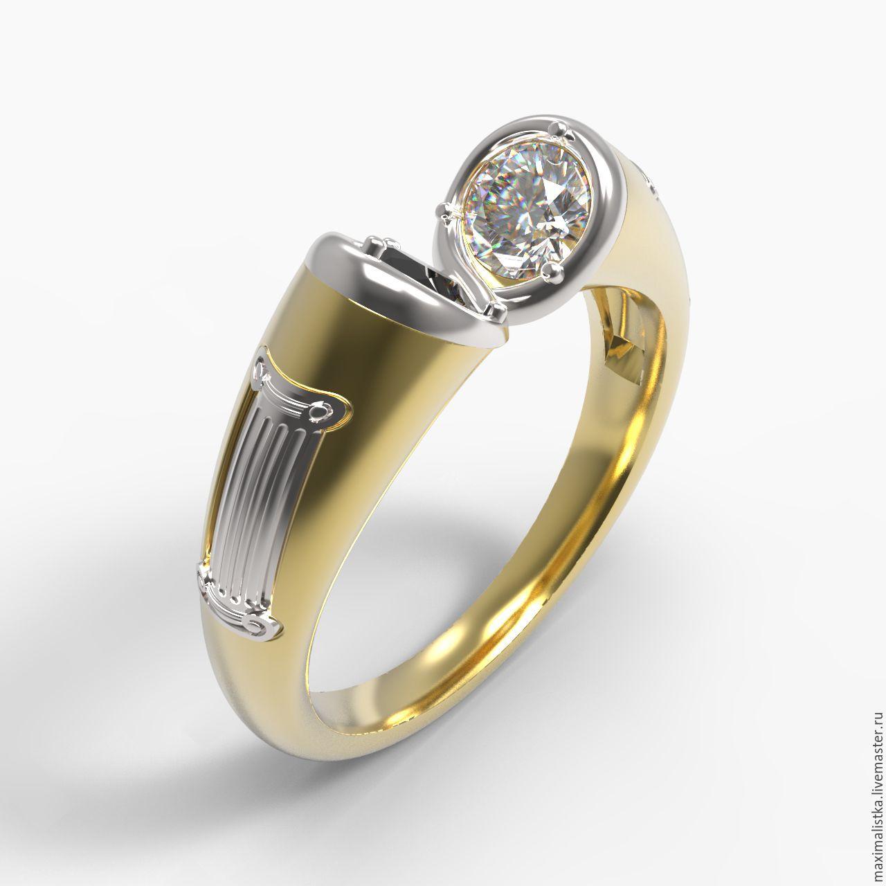 """Золотое кольцо """"Прима"""" с белым и чёрным бриллиантами, бесконечность, Кольца, Москва, Фото №1"""