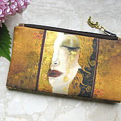 Сумки и аксессуары handmade. Livemaster - original item Cosmetic Bag, Klimt bag, phone bag, bridesmaid clutch, Golden Tears. Handmade.