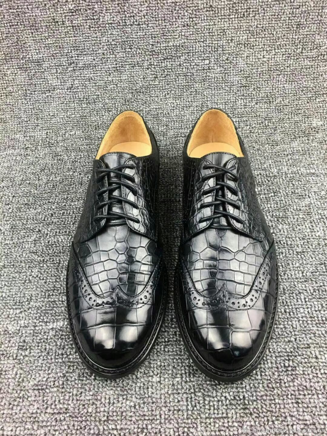 Brogues made of genuine crocodile leather, black color, custom made!, Brogues, Tosno,  Фото №1
