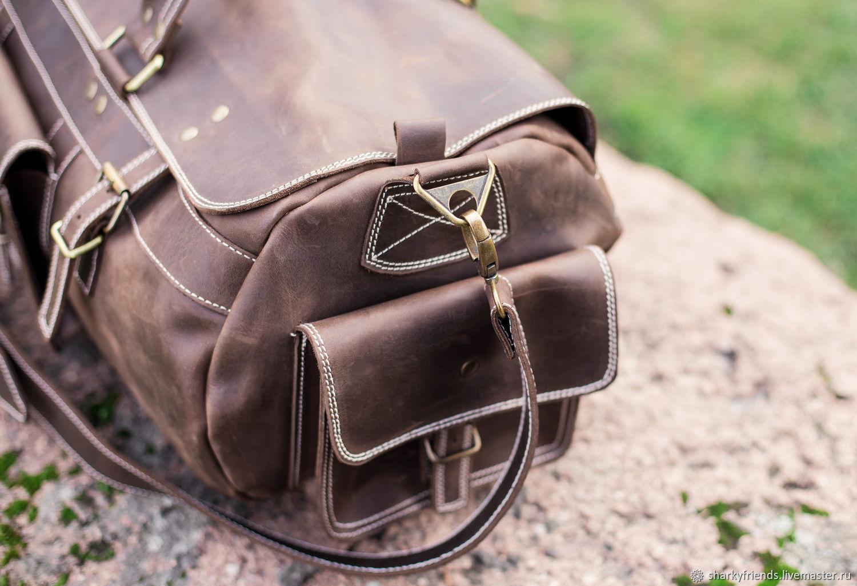 1b346b1182f8 Мужские сумки ручной работы. Заказать Большая кожаная сумка БИЗОН. Дорожная  сумка из коричневой кожи ...