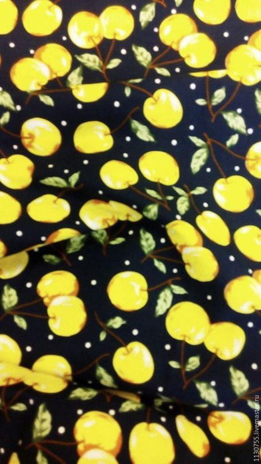 Шитье ручной работы. Ярмарка Мастеров - ручная работа. Купить Ткань хлопок поплин  вишни желтые. Handmade. Комбинированный, хлопок