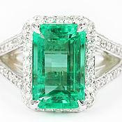 Украшения handmade. Livemaster - original item 6.20 Carat Natural Colombian Emerald And Diamond Engagement Ring, Emer. Handmade.
