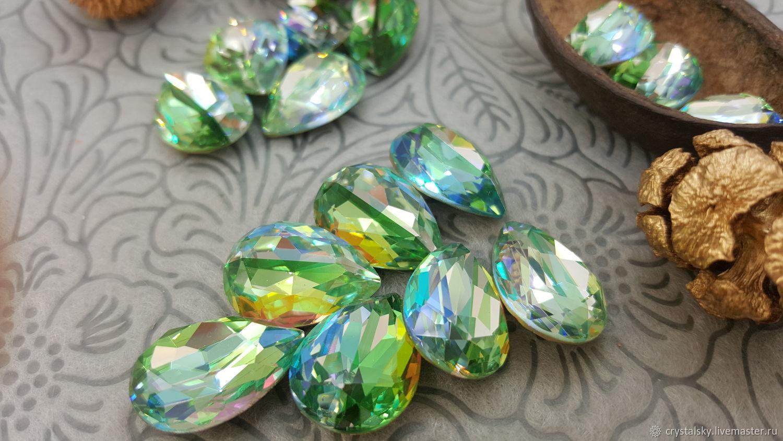 Crystal rhinestones drop 13h18 Premium, Duo Color 'Peridot', Crystals, Jerusalem,  Фото №1