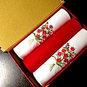 handmade. Livemaster - original item Handkerchiefs women`s Rose embroidered initials monogram monogram. Handmade.