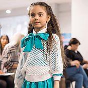 Работы для детей, ручной работы. Ярмарка Мастеров - ручная работа Комплект для девочки юбка,блузка и свитшот, Бирюза. Handmade.