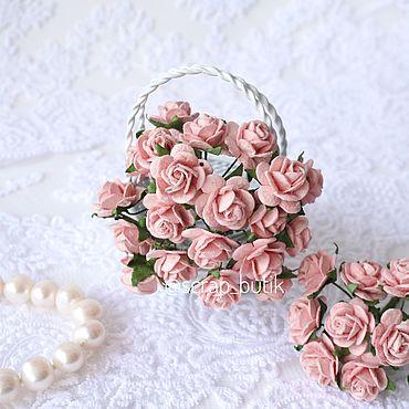 Цветы и флористика ручной работы. Ярмарка Мастеров - ручная работа Бумажные розы 1,5 см Розово-персиковые Цветы для скрапбукинга. Handmade.