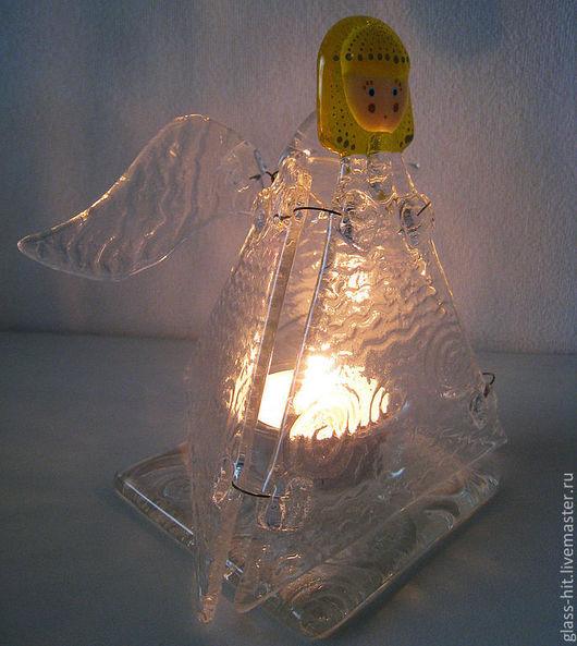 """Подсвечник """"Ангел"""". Стекло. Фьюзинг. Подсвечник на пасху, на праздничный пасхальный стол! Прекрасный подарок на крестины!"""