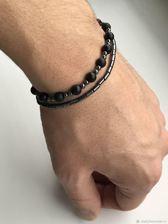 Двойной браслет из гематита с ониксом, Браслет из бусин, Даугавпилс,  Фото №1
