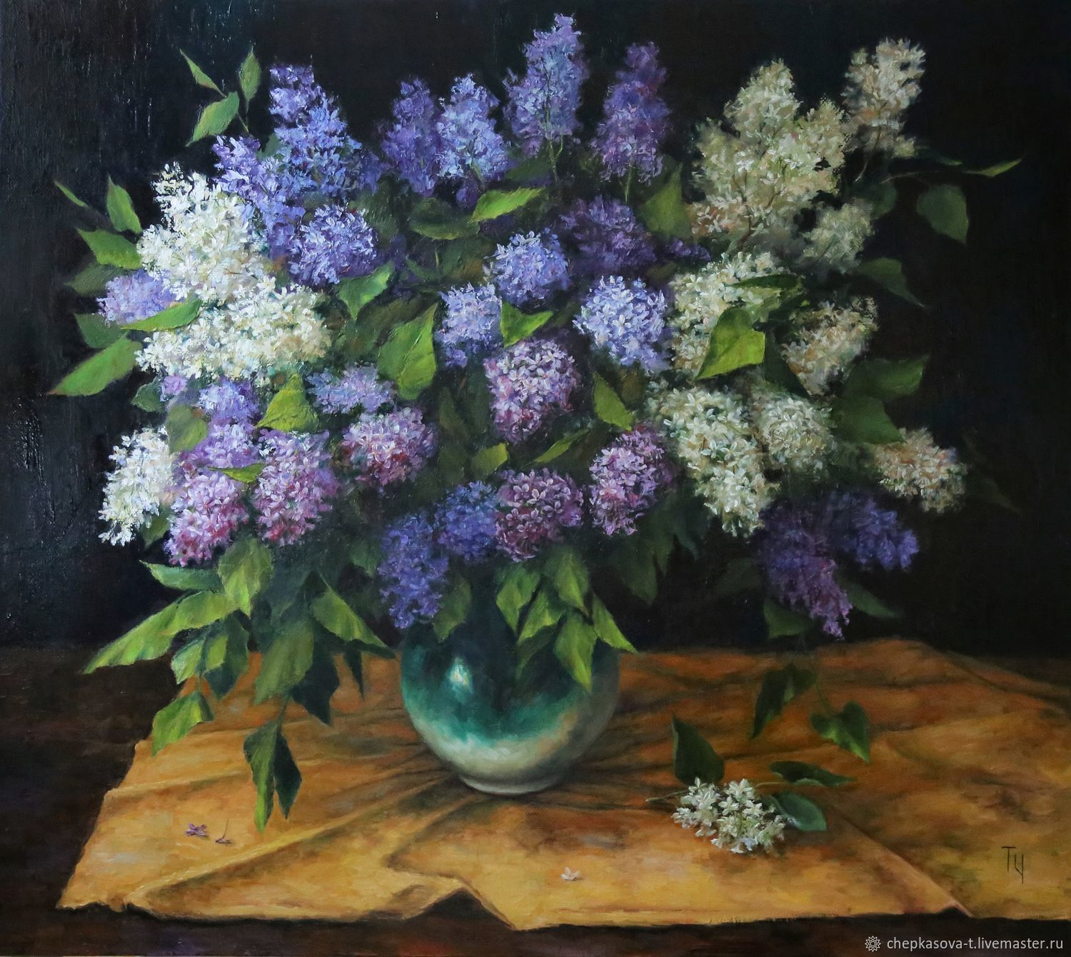 Lilac on a yellow handkerchief. oil on canvas, 80h90 cm, Pictures, Moscow,  Фото №1