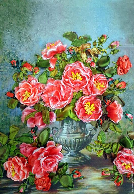 Картины цветов ручной работы. Ярмарка Мастеров - ручная работа. Купить Розовые розы.Вышивка лентами.. Handmade. Вышивка