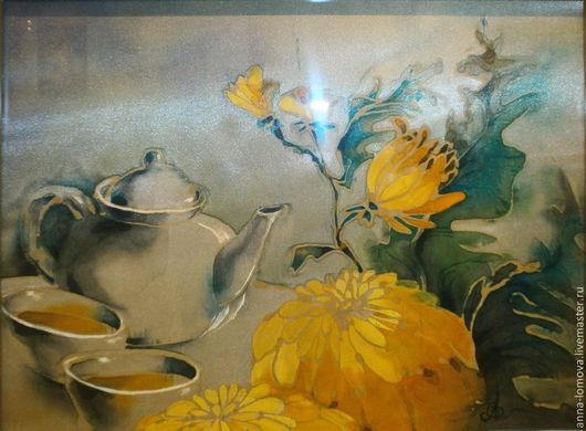 """Картина на шелке """"Чай и хризантемы"""". Анна Ломова . Ярмарка Мастеров."""