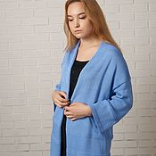 Одежда handmade. Livemaster - original item Knitted cardigan summer women`s cotton with silk blue. Handmade.